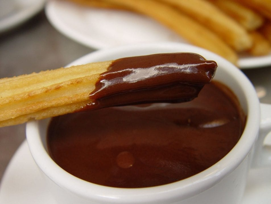 it is churros we ate hot chocolate and churros some people eat it at ...