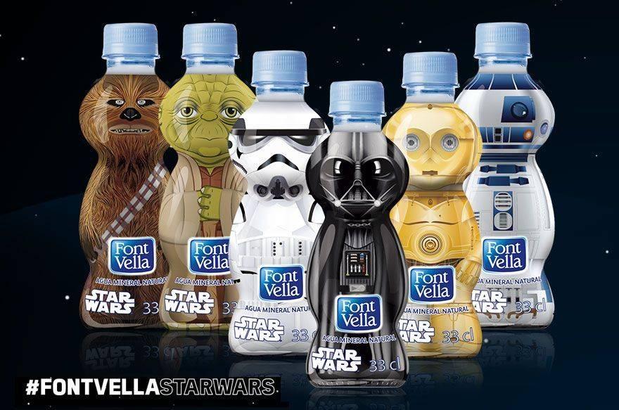 Agua FontVella con personajes de la Guerra de las Galaxias